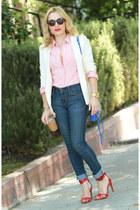 navy skinny denizen jeans - white Forever 21 blazer