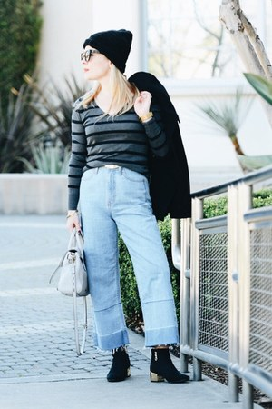 light blue wide leg Nasty Gal jeans - black ankle Topshop boots