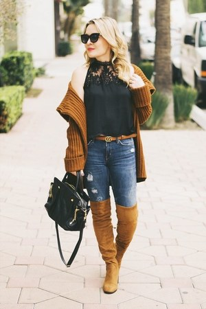 black lace free people top - tawny over the knee Zara boots