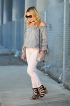 neutral skinny Zara jeans - heather gray off shoulder Sheinside top