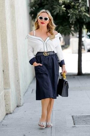 white off shoulder zaful top - navy denim Thacker NYC skirt