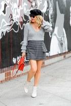 gray asymmetrical Joa skirt - off white ankle Pour La Victoire boots