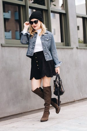 light blue denim Paper Denim & Cloth jacket - black suede asos skirt