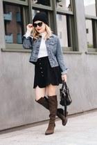 light blue denim Paper Denim & Cloth jacket - black suede asos skirt