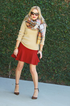 tawny plaid Zara scarf - camel turtleneck JCrew sweater