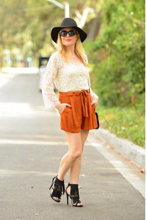 black fringe JustFab heels - burnt orange tie front Zara shorts