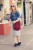 blue denim madewell shirt - ruby red fringe thrifted vintage bag