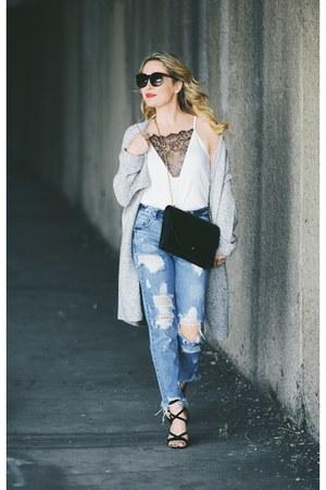 heather gray cardigan H&M sweater - blue distress Vici jeans