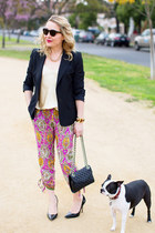 hot pink silk paisley Ralph Lauren pants - black tailored Elie Tahari blazer