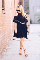 black cold shoulder VIPme dress - red ankle strap Sole Society heels