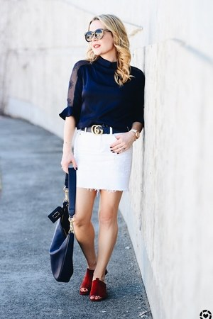 blue silk StyleWe top - white denim J Crew skirt - ruby red mules Zara sandals