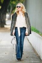 charcoal gray faux fur Topshop cardigan - blue patchwork vintage jeans