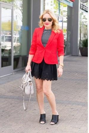 black eyelet Betsey Johnson shorts - red cropped Zara blazer