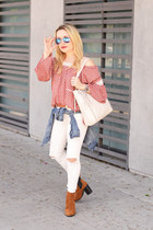 white distressed free people jeans - off white tote the sak bag