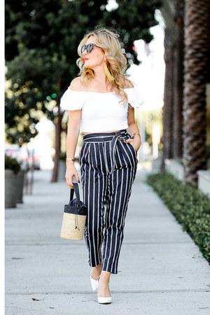 navy striped Joa pants - white off shoulder Topshop top