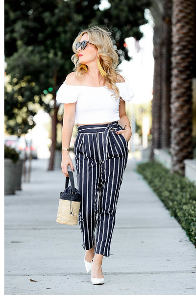 navy striped Joa pants - white off shoulder Topshop top