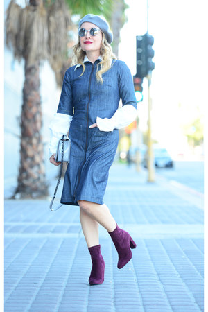 blue denim Shabby Apple dress - brick red ankle boots Steve Madden boots