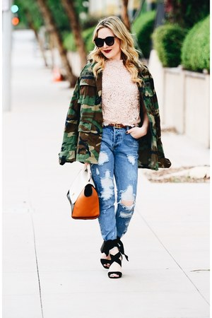 olive green camo The Pretty Cult jacket - sky blue distressed Vici jeans
