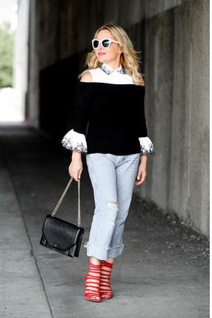 black bell sleeve Anne Fontaine top - light blue high waisted Wrangler jeans