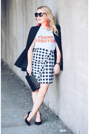 white gingham asos skirt - black classic Elie Tahari blazer