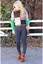 green blouse 31 Phillip Lim shirt - tawny ankle boots Zara boots
