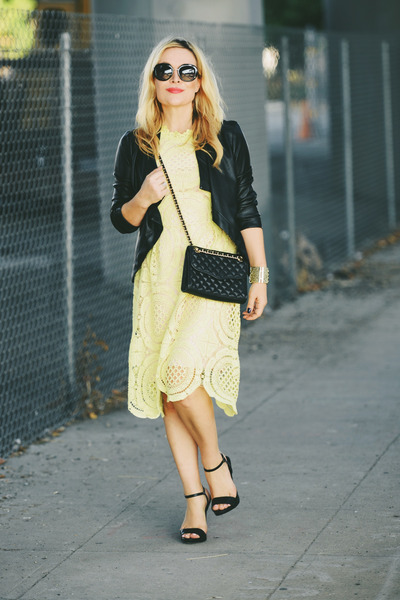 light yellow lace Oasis dress - black faux leather BB Dakota jacket