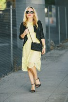 light yellow lace Oasis dress - black faux leather BB Dakota jacket