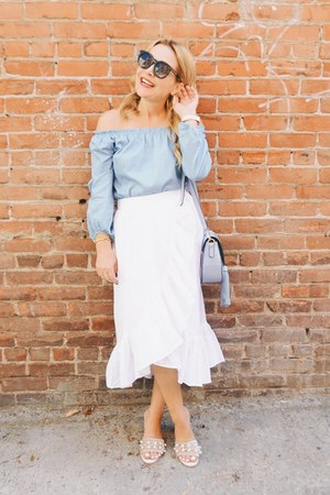 ivory ruffled asos skirt - light blue off shoulder Ohconcept top
