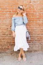 ivory ruffled asos skirt - light blue off shoulder Ohconcept top