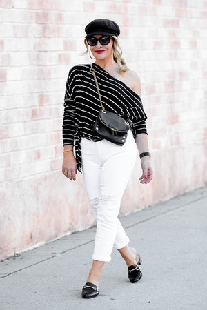 white white Sanctuary jeans - black off shoulder free people top