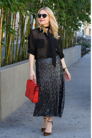 black sequined Sabine skirt - red satchel joy gryson bag