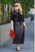 red satchel joy gryson bag - black sheer Vintage Havana blouse