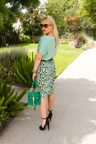 turquoise blue Rebecca Taylor skirt - green olivia & joy bag