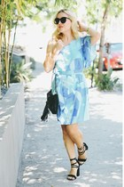 sky blue one shoulder Cuddy Studios dress