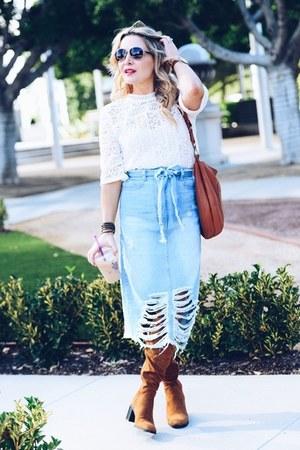 cream lace Loft top - blue denim zaful skirt