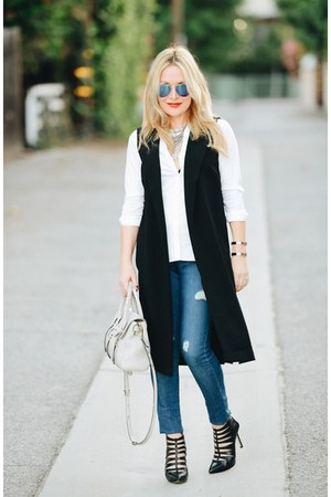 black maxi Nordstrom vest - blue ripped Old Navy jeans - white oxford H&M shirt