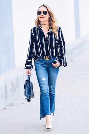blue cropped black label jeans - navy striped La Cienega top