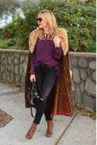purple boho Missguided top - black skinny Adriano Goldschmeid jeans