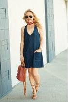 navy denim Tobi dress - bronze lace-up asos sandals