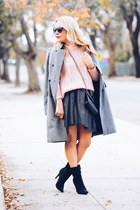 black polka dot Marc by Marc Jacobs skirt - heather gray Zara coat