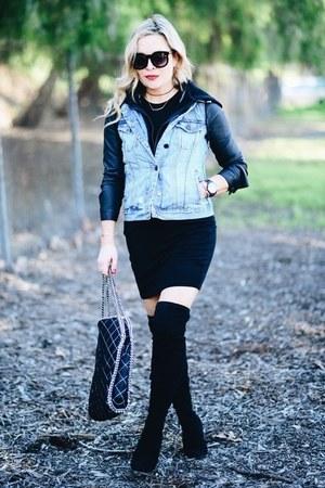 blue BLANKNYC jacket - black t-shirt cotton on dress