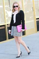 black v-neck MORGAN sweater - hot pink clutch Olivia and Joy bag