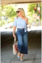 blue culottes Express jeans - sky blue one shoulder Zara top