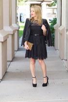 black lace BB Dakota dress - black faux leather Chicwish jacket