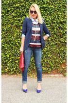 blue pumps Boutique 9 shoes - blue Joes Jeans jeans - navy Zara blazer