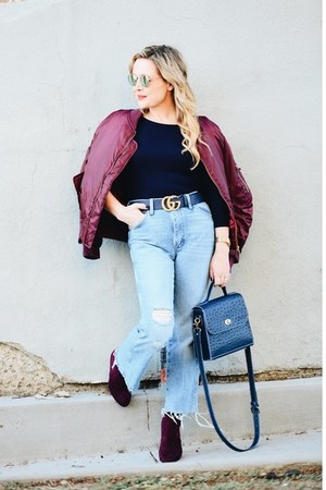 light blue high waisted Wrangler jeans - brick red bomber Boohoo jacket