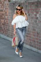 white ruffled Dezzal top - light blue distressed STS Denim jeans