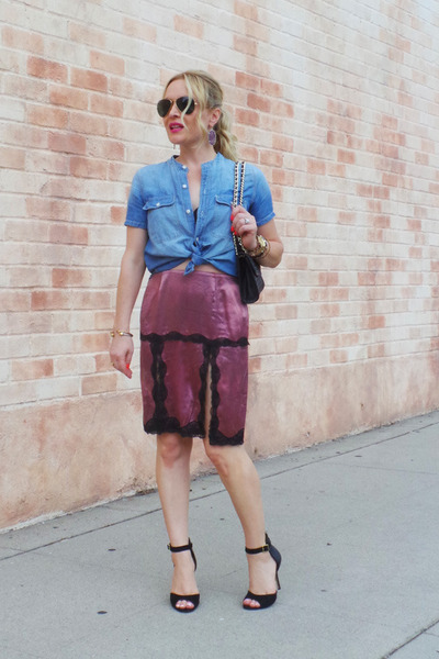 blue denim madewell shirt - black cross body Rebecca Minkoff bag