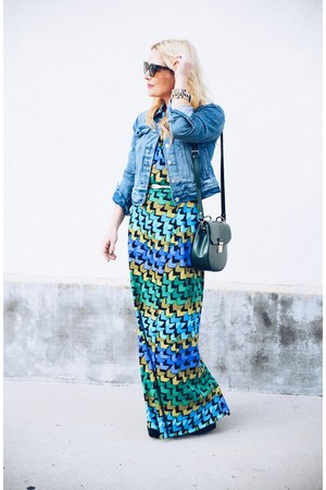 green maxi Shabby Apple dress - blue denim Levis jacket
