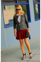 black DKNYC jacket - white sleeveless Aqua shirt - red flutter Zara skirt